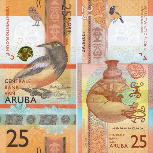 Aruban-25-Florin-Bank-Note-2019-Front-&-Back